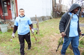 """Rebuilding Together volunteers helped neighbors clean up vacant lots on the block. """"This is a nice block,"""" said Lurry. """"It is community – it really is."""""""