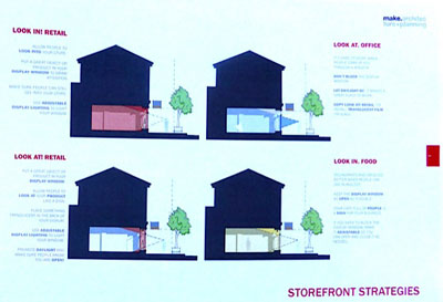 A page from the storefront design manual that was also unveiled as part of this project. The manual offers clear guidance on both facades and visual merchandising that will help all businesses along the street.