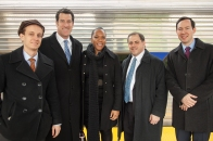 LISC staff arrive for the Paseo Verde ribbon cutting at the Temple University station via SEPTA's Regional Rail.